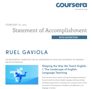 Statement of Accomplishment from coursera.com