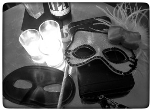 Our masks for the Black and White Masquerade Ball.