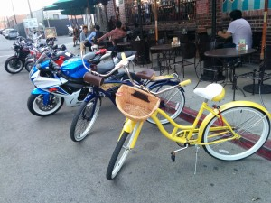 Our bikes parked in L.A.