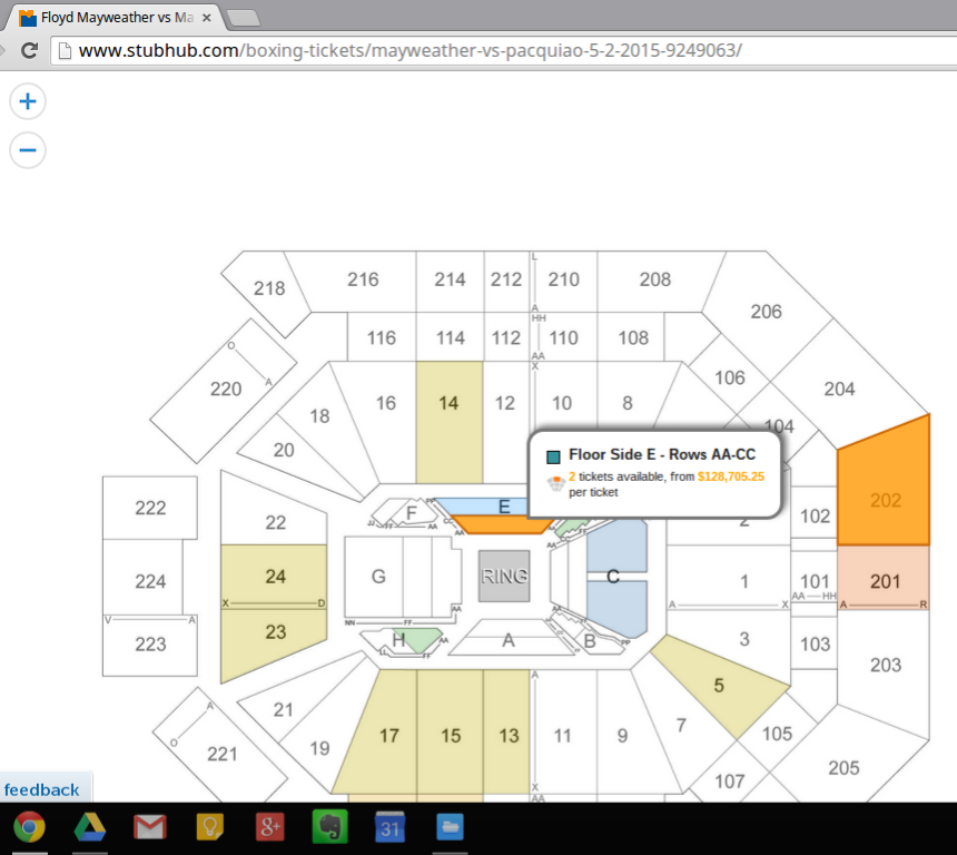Pacquiao-Mayweather tickets on Stubhub.