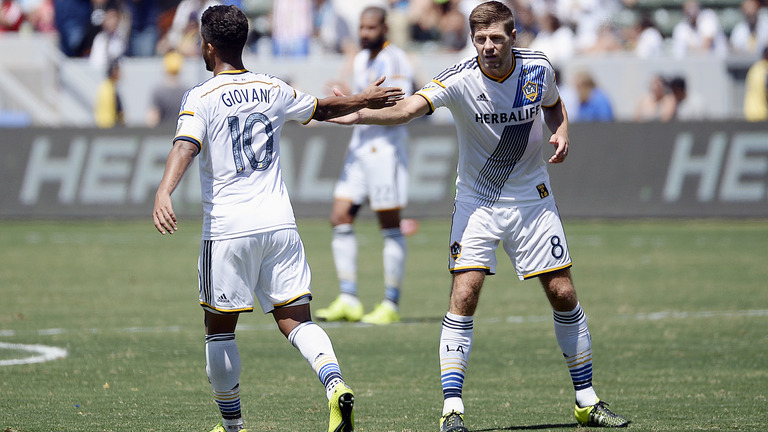 The Galaxy's Dos Santos and Gerrard.