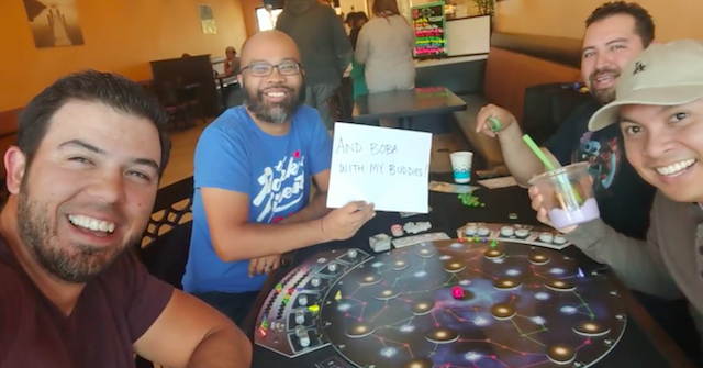 My buddies and I love board games and boba (that's me with the sign). Check out the video at https://www.youtube.com/watch?v=O-o1knHftuc
